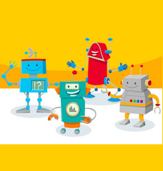 Funny robot characters group cartoon vector