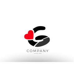 g alphabet letter logo icon with love heart vector image