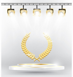 Gold laurel wreath on podium with spotlights vector