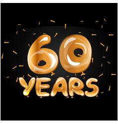 golden number sixty metallic balloon vector image