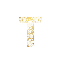 Golden ornamental alphabet letter t font vector