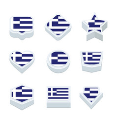 greece flags icons and button set nine styles vector image
