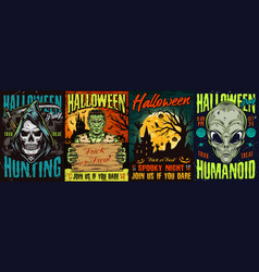 Halloween vintage colorful posters vector