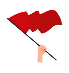 Hand waving red flag isolated icon vector