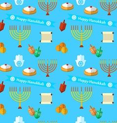 Happy Hanukkah seamless pattern with dreidel game vector