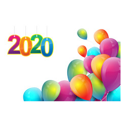 happy new year 2020 flying colorful balloons vector image