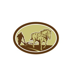 Horse and Farmer Plowing Farm Oval Retro vector image