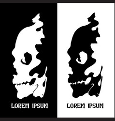 human skull for horror or halloween design as a vector image