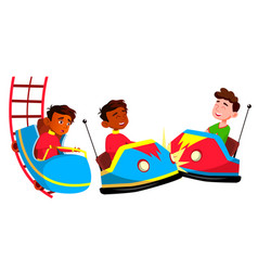 indian boy set amusement park primary vector image