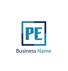 Initial letter pe logo template design vector