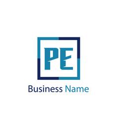 initial letter pe logo template design vector image