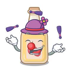 Juggling bottle apple cider above cartoon table vector