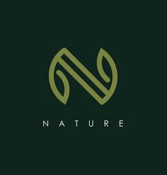 letter n with leaf logo design template vector image