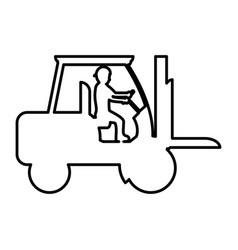 Line pictograph laborer with forklift equipment vector