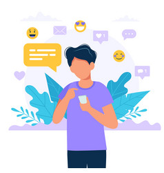 man texting with a smartphone social media icons vector image