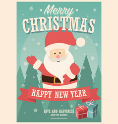 merry christmas card with santa claus and gift vector image