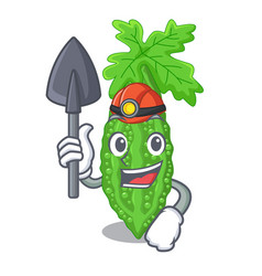 Miner bitter melon character on vegetables fresh vector