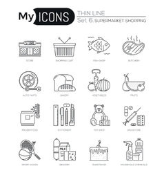 Modern thin line icons set of supermarket shopping vector image
