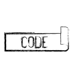 Monochrome blurred silhouette label text of code vector