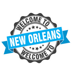 new orleans round ribbon seal vector image