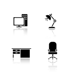 Office interior elements drop shadow icons set vector image