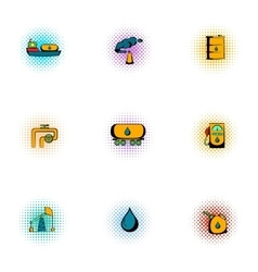 Oil icons set pop-art style vector image