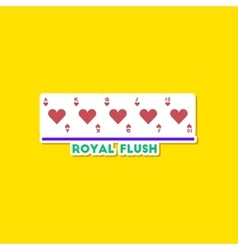 paper sticker on stylish background poker royal vector image vector image