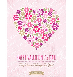pink background with valentine heart of spring flo vector image