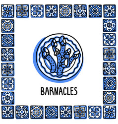 Portugal landmarks set goose barnacles percebes vector