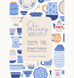 Pottery workshop poster template hand vector