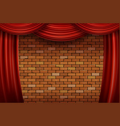 Red curtains on brick wall background vector