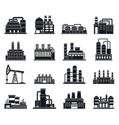 Refinery plant factory icons set simple style vector