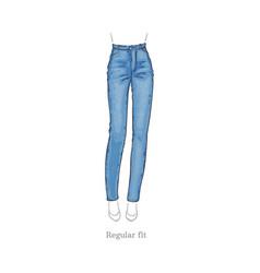 regular fit style jeans female denim pants vector image