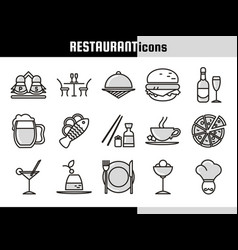 Restaurant linear icons collection vector