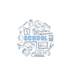 school stationary equipment set hand drawn vector image