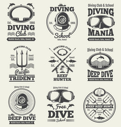 Scuba diving vintage labels spearfishing vector