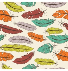 Seamless pattern colorful feathers vector
