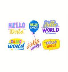 set lettering for baby shower greeting card vector image