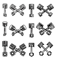 set motorcycle and car pistons design element vector image