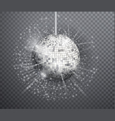 silver disco ball shining club symbol of vector image