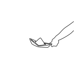 Single line drawing paper boat on white background vector