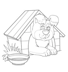 Sketch a big dog sitting in a booth and vector