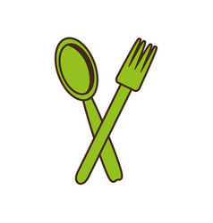spoon fork cutlery kitchen cooking image vector image