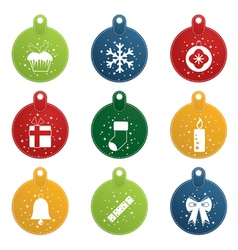 stitched christmas tags vector image vector image