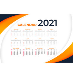 Stylish 2021 new year wavy calendar design vector