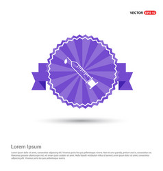 syringe icon - purple ribbon banner vector image