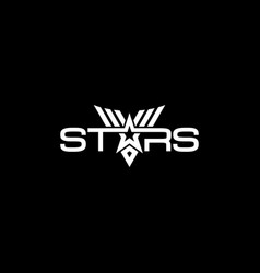 text stars logotype with military vector image