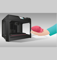 the heart printed on a 3d printer vector image