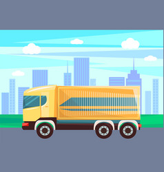 Transport in city cityscape and lorry van delivery vector