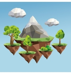 Tree and mountain icon Polygonal image vector